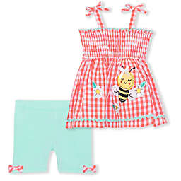 Nanette Baby® Size 3-6M 2-Piece Bee Seersucker Top and Short Set in Coral