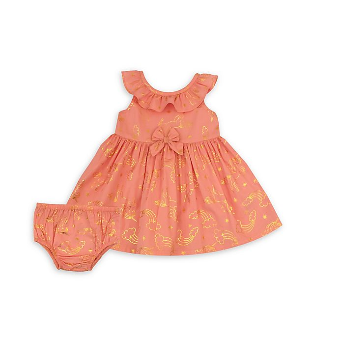 Alternate image 1 for Nannette Baby® 2-Piece Gold Foil Dress and Diaper Cover Set in Peach