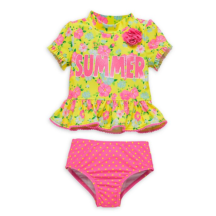 Alternate image 1 for Wetsuit Club 2-Piece Floral Toddler Rashguard Set in Yellow