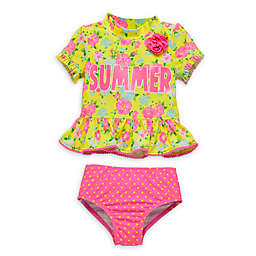 Wetsuit Club 2-Piece Floral Toddler Rashguard Set in Yellow