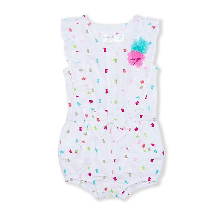 Alternate image 1 for Nanette Baby® Clip Dot Romper in White