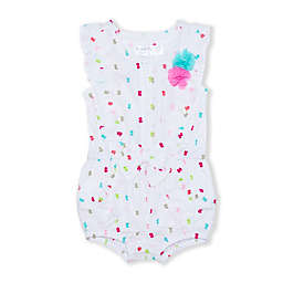 Nanette Baby® Clip Dot Romper in White