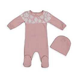 HannaKay by Manière 2-Piece Lace Yoke Footie and Hat Set in Pink/White