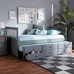 Baxton Studio Doro 6-Drawer Twin Daybed with Trundle in Grey