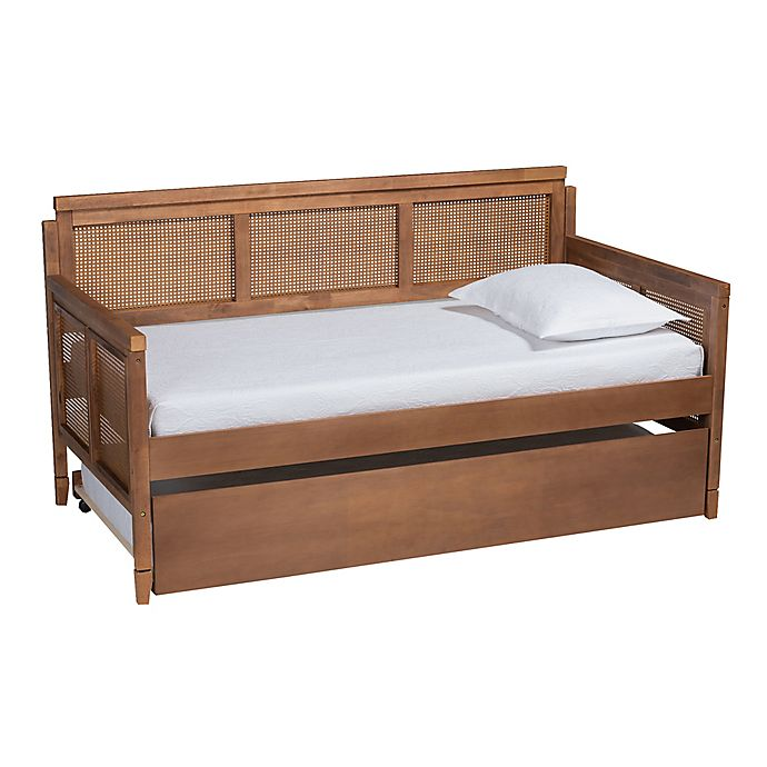 Alternate image 1 for Baxton Studio Page Rattan Twin Daybed with Trundle in Walnut Brown