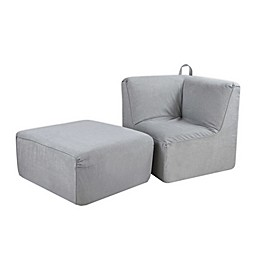 Kangaroo Trading Company Tween 2-Piece Foam Corner Chair and Ottoman Set