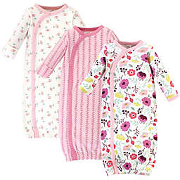 Touched by Nature Size 0-6M 3-Pack Organic Cotton Botanical Kimono Gowns in Pink