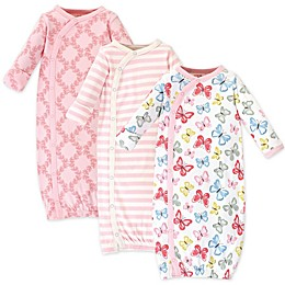 Touched by Nature 3-Pack Organic Cotton Butterflies Kimono Gowns in Pink