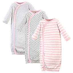 Touched by Nature Size 0-6M 3-Pack Organic Cotton Scribble Kimono Gowns in Pink