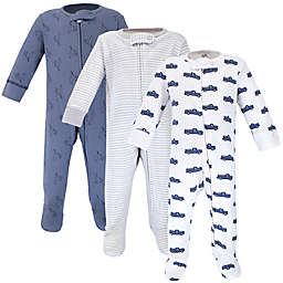Touched by Nature 3-Pack Truck Organic Cotton Sleep 'N Plays in Blue