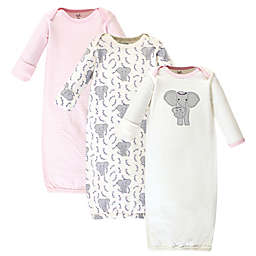Touched by Nature® Size 0-6M 3-Pack Elephant Organic Cotton Sleep Gowns in Grey