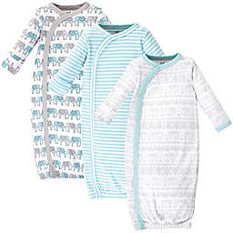 Touched by Nature® Preemie 3-Pack Elephant Organic Cotton Sleep Gowns in Blue
