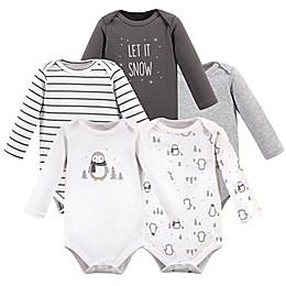 Hudson Baby® 5-Pack Penguin Long Sleeve Bodysuits in White