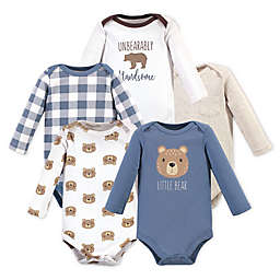 Hudson Baby® 5-Pack Little Bear Long Sleeve Bodysuits in Blue