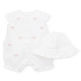Little Me® 2-Piece Blossom Romper and Hat Set in White