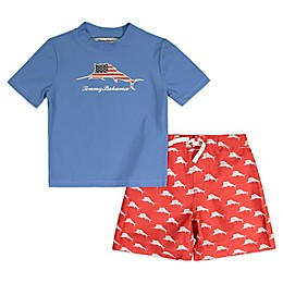 Tommy Bahama® 2-Piece Americana Rashguard and Swim Trunks Set