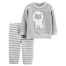 carter's® 2-Piece Lion French Terry Top & Striped Pants Set in Grey
