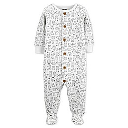 carter's® Animals Fleece Sleep and Play Footie in Cream