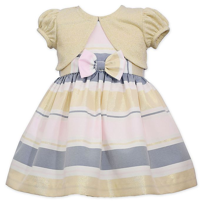 Alternate image 1 for Bonnie Baby 2-Piece Multicolor Stripe Dress and Shrug Set in Gold