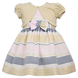 Bonnie Baby 2-Piece Multicolor Stripe Dress and Shrug Set in Gold