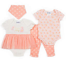 Nicole Miller NY 4-Piece Daisy Tutu Creeper, Bodysuit, Pant and Bib Set in Coral