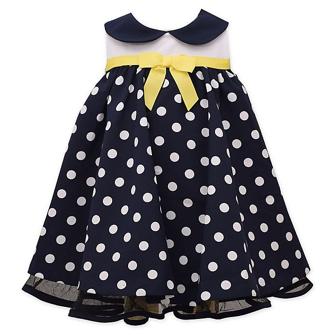 Alternate image 1 for Bonnie Baby Sleeveless Polka Dot Nautical Dress in Navy/Yellow