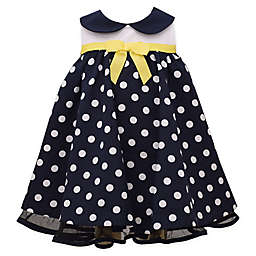 Bonnie Baby Sleeveless Polka Dot Nautical Dress in Navy/Yellow