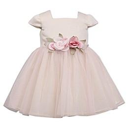 Bonnie Baby Short Sleeve Ballerina Dress in Cream/Blush