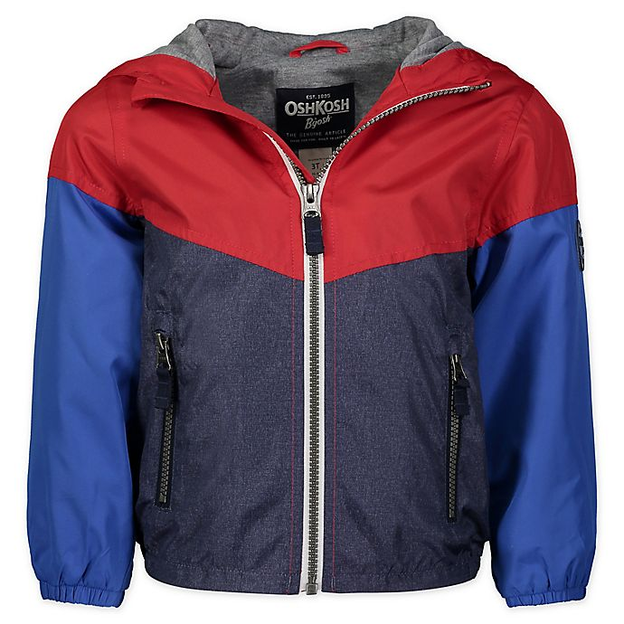 Alternate image 1 for OshKosh B'gosh® Colorblock Hooded Jacket in Red/Blue/Navy