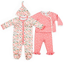 Nicole Miller NY 4-Piece Rose Footie, Kimono Shirt, Pant, and Cap Set in Salmon