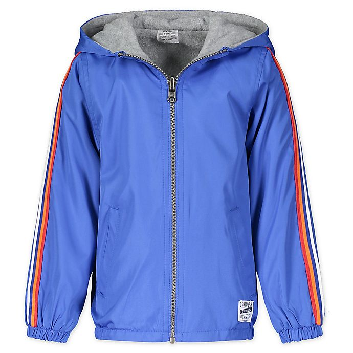 Alternate image 1 for OshKosh B'gosh® Reversible Hooded Jacket in Blue/Grey