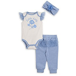 Kyle & Deena 3-Piece Little Lady Pant, Bodysuit, and Headband Set in Blue