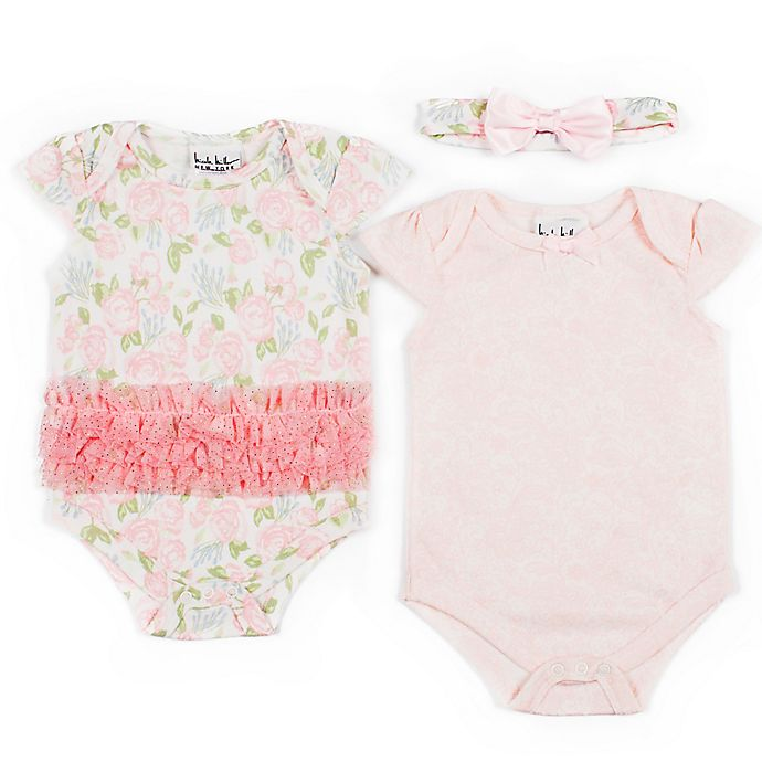 Alternate image 1 for Nicole Miller NY 3-Piece Rose Rumba Creeper, Bodysuit, and Headband Set in Pink