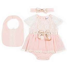 Nicole Miller NY 3-Piece Bubble Skirted Creeper, Bib and Headband Set in Blush