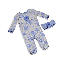 Kyle & Deena 2-Piece Lace Garden Footie and Headband Set in Blue