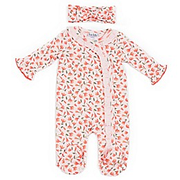 Nicole Miller NY 2-Piece Floral Footie and Headband Set in Coral