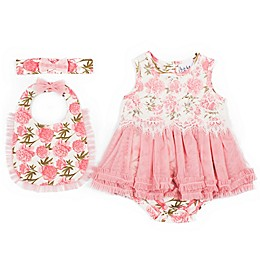 Nicole Miller NY 3-Piece Bubble Skirted Creeper, Bib and Headband Set in Rose