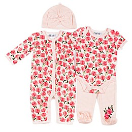 Nicole Miller New York 4-Piece Salmon Rose Layette Set