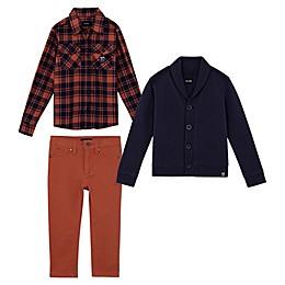 JOE'S 3-Piece Flannel Shirt, Fleece Cardigan, and Twill Pant Set