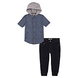 Buffalo™ 2-Piece Chambray Top and Jogger Set in Grey