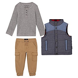 Buffalo™ 3-Piece Henley Top, Vest and Jogger Set in Grey