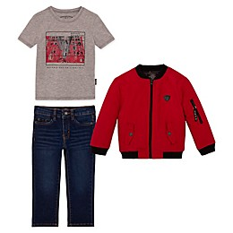 Buffalo™ 3-Piece Toddler Bomber Jacket, Shirt and Jeans Set in Red