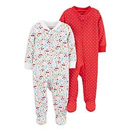 carter's® Preemie 2-Pack Sleep 'N Plays in Ivory/Red
