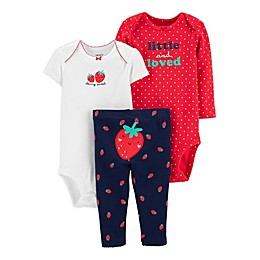 carter's® Preemie 3-Piece Strawberry Bodysuits and Pant Set