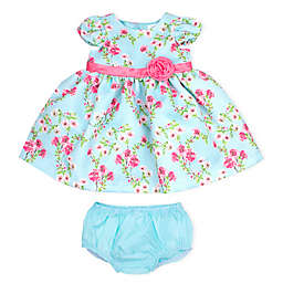 Nanette Baby® Floral Woven Pique Dress with Diaper Set Cover in Mint