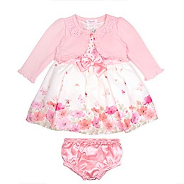 Nanette Baby® 3-Piece Floral Dress, Knit Shrug, and Diaper Cover Set