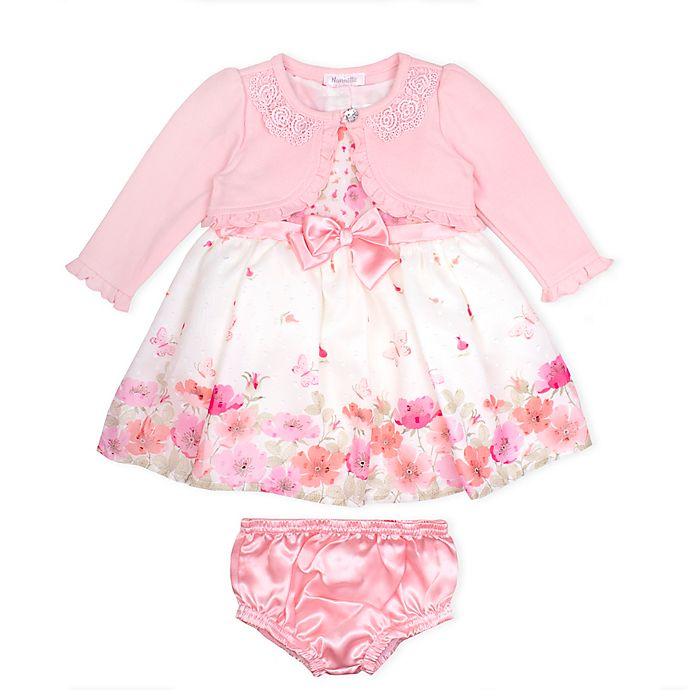 Alternate image 1 for Nanette Baby® 3-Piece Floral Dress, Knit Shrug, and Diaper Cover Set
