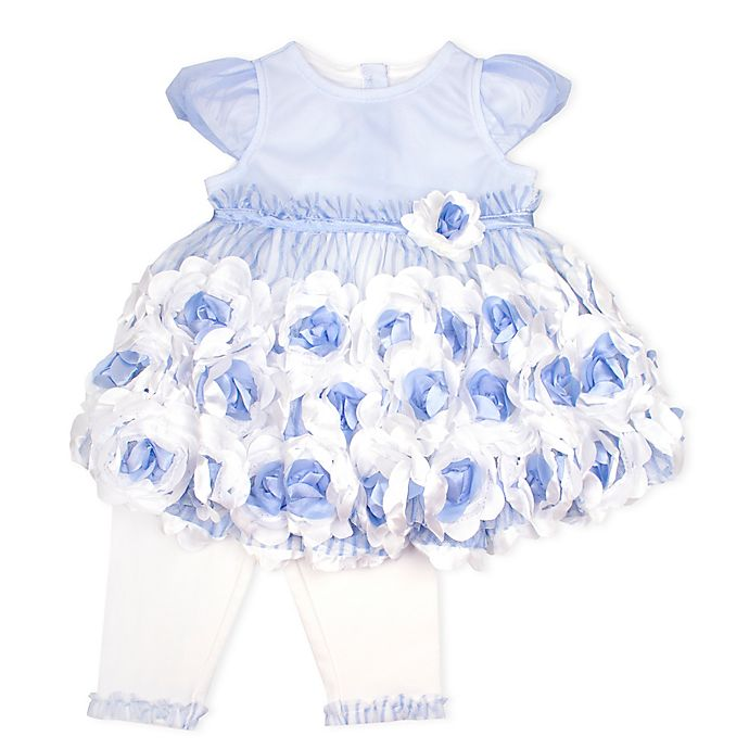 Alternate image 1 for Nanette Baby® 2-Piece Mesh Knit Bubble Sleeve Top and Legging Set in Blue