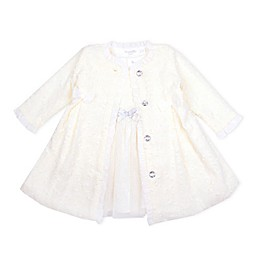Nannette Baby® 2-Piece Metallic Knit Jacket and Glitter Tulle Dress Set in Ivory