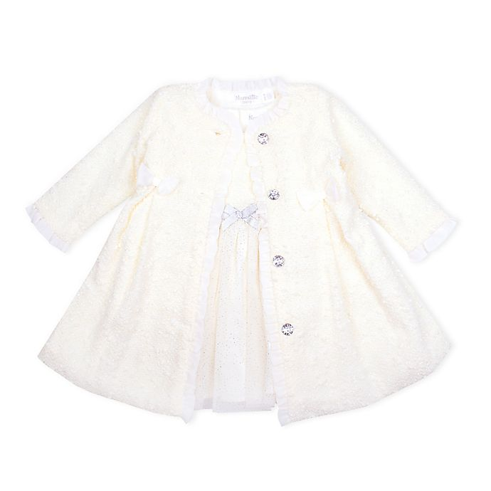 Alternate image 1 for Nannette Baby® 2-Piece Metallic Knit Jacket and Glitter Tulle Dress Set in Ivory